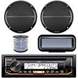 JVC KD-R97MBS In-Dash Marine Boat Bluetooth Radio USB CD Receiver Bundle Combo With Pair Enrock EKMR1672 6.5 Black Dual-Cone Stereo Speakers + Stereo Waterproof Cover + 18g 50FT Marine Speaker Wire