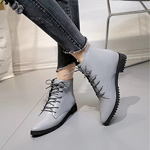 ZHZNVX Pointed Toe Winter Flat Boots For Grey Shoes Casual HSXZ Heel Mid Combat Boots Gray Boots Null Calf PU Women's Black P7qB1rP