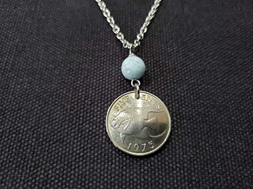 CoinageArt -45th Birthday -Bermuda Coin Jewelry -Ocean Fish Coin Necklace 5 cents from Bermuda dated 1975 with Aquamarine Gemstone on Brilliant Stainless Steel Chain 940
