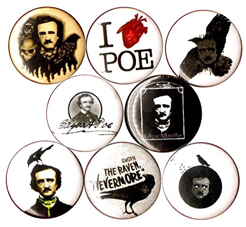 EDGAR ALLAN POE 8 NEW button pin badge quoth the raven nevermore poet baltimore