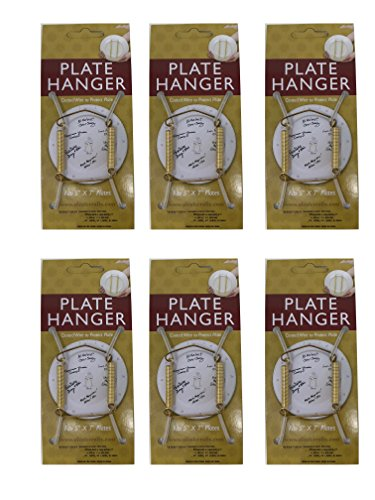 Plate Display Hanger Decorative, Expandable Spring Holds 5 to 7 Inch Plates- Gold Wire Spring Type, Pack of 6 (Expandable Plate Hanger)