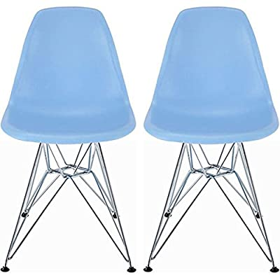 2xhome - Azzo Plastic Mid-Century Modern Shell Chair, Red, Set of 2