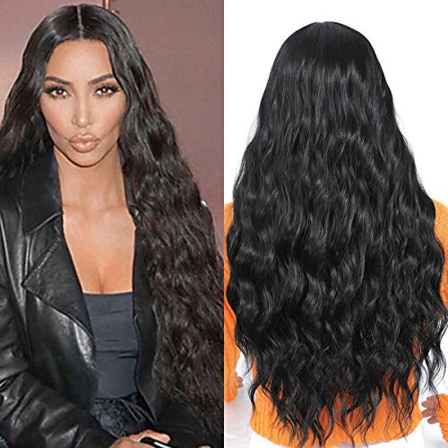 TIANTAI Long Wavy Wig Natural Black Color Middle Part Long Curly Synthetic Daily Party Wig for Women 26 Inch