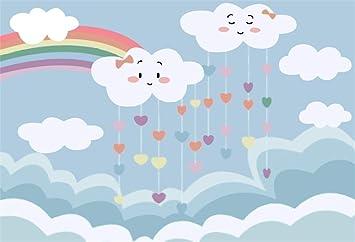 Lfeey 7x5ft Cute Raindrop Clouds Rainbow Photography Background Wallpaper Cartoon Kids Children Birthday Party Backdrop Decor Baby Dream Baby Shower