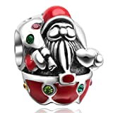 Christmas Santa Claus with Colorful Cz Stone 925 Sterling Silver Charms-for Pandora Charms Bracelet-Xmas Gift Great Present Idea On Christmas Day