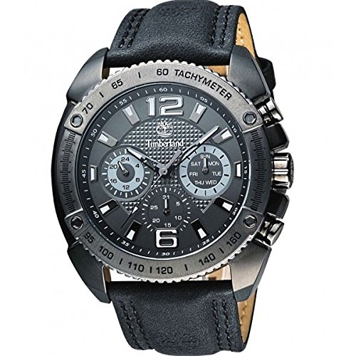 Timberland 13901XSBU-61 Mens Bennington L Gunmetal Black Leather Strap Watch