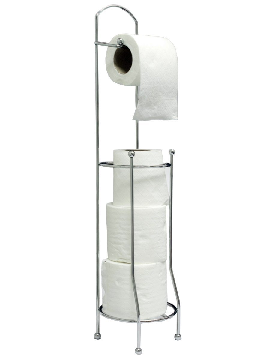 Free-Standing Toilet Roll Holder For Easier Storage