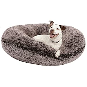 BESSIE AND BARNIE Signature Frosted Willow Luxury Shag Extra Plush Faux Fur Bagel Pet/Dog Bed 36