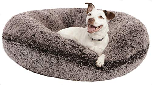 BESSIE AND BARNIE Signature Frosted Willow Luxury Shag Extra Plush Faux Fur Bagel Pet/Dog Bed (Multiple Sizes)