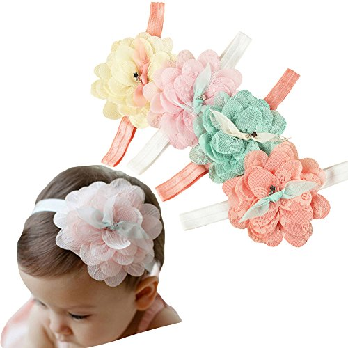 Danmy baby girl super stretchy headband big lace petals flower baby headband newborn hair accessories 4pcs mixed color