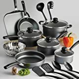 Tramontina PrimaWare 18-Piece Nonstick Cookware Set, Steel Gray