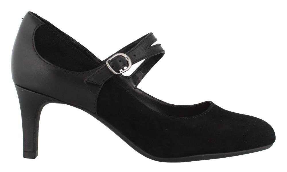 CLARKS Women's Dancer Reece Pump B0796YHQNZ 075 M US|Black Suede/Leather Combi