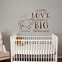 """Wall Decal Decor A Little Love Makes A Big Difference! - with Cute Elephant Wall Decal for Baby Nursery Kids Room(White, 29""""h x40""""w)"""