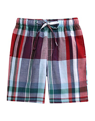 TINFL Boys 100% Cotton Plaid Check Sleep Lounge Shorts BSP-AA003-Red -