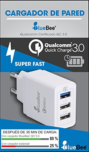 Cargador Qualcomm Quick Charge 3.0 BlueBee 3 puertos: Amazon ...
