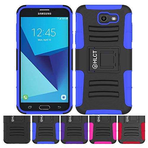 Price comparison product image Galaxy J7 Stand Case,  HLCT Rugged Shock-Proof Dual Layer PC and Soft Silicone Case with Built in Kickstand for Samsung Galaxy J7 (2017) (Blue)