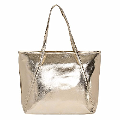 Women's Tote Handbags - OURBAG Large Fashion Designer Elegant Shoulder Bag Purses for Ladies Champagne Gold (Shoulder Medium Bag Gold)