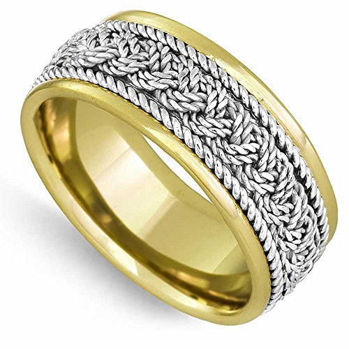 14K Two Tone (White and Yellow) Gold Braided French Braid Men's Wedding Band (9mm) Size-17c2