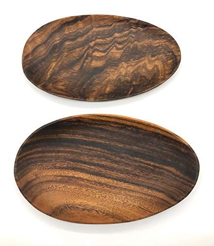 Handcrafted Acacia Wood Round EGG SHAPED Flat Rice Sushi Appetizer Bowl, 10