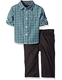 Baby Boys' Roll Up Sleeves Shirt With Twill Pants Set