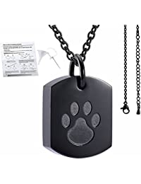 Stainless Steel Paw Print Square urn Pendant Memorial Ash Keepsake Cremation Jewelry+Free 20 Inch Chain +fill kit +box