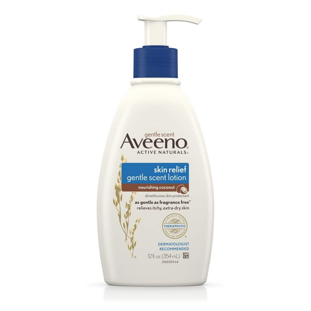 Aveeno Skin Relief Moisturizing Lotion with Coconut Scent & Triple Oat Complex, Dimethicone Skin Protectant for Sensitive & Extra-Dry Itchy Skin, 12 fl. oz (Pack of 2)