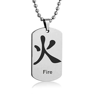 Feuer Auf Japanisch feuer japanisch kanji gravur edelstahl anhänger halskette tag
