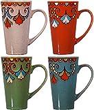 Colorful Tasty Ceramic Coffee Mug with Handle – Set of 4 Ceramic Tea Cups Set - Tall Ceramic Latte Mugs Set (Rim)