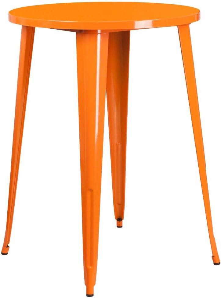 "Flash Furniture Commercial Grade 30"" Round Orange Metal Indoor-Outdoor Bar Height Table"