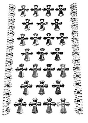 3 Sheets Silver Cross Sticker Charms 3-D Christening Communion Religious Self Adhesive Stickers Party Motives Favor Decorations