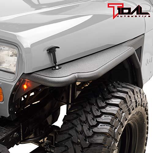 Tidal Front Tube Fender Flare Rocker Guard W/SS Mash for 87-96 Jeep Wrangler YJ ()