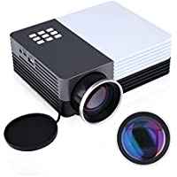COOQI Portable Projector, GM50 Mini LED Video Projector With USB AV SD HDMI VGA Port Mobile Beamer Black/White