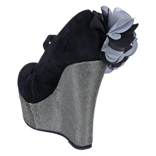 Bamboo Womens Pamela-02 Dress Wedge Black/Silver MRcve