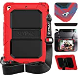SEYMAC iPad 5th/6th Generation Case, Three Layer Heavy Duty Silicone Bumper Stand Shockproof Protective Case [Shoulder Strap] Compatible with New iPad 2017 2018/iPad Air 2/iPad Pro 9.7 2016-Red/Black