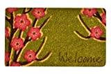 No Trax Designs C11S1830WF Welcome Floral Coir Door Mat, 18'' x 30''