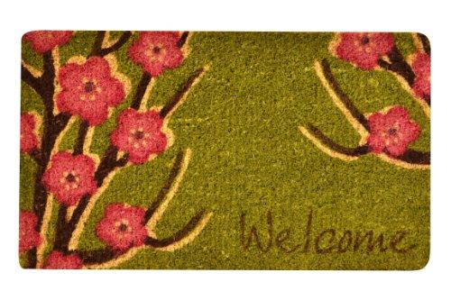 No Trax Designs C11S1830WF Welcome Floral Coir Door Mat, 18