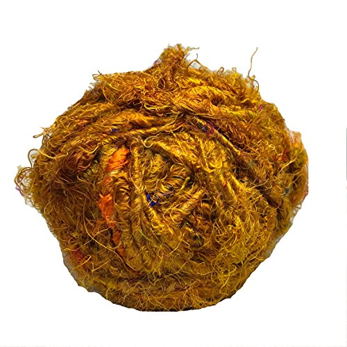 Recycled Sari Silk Super Bulky Yarn Mustard (100 Grams)