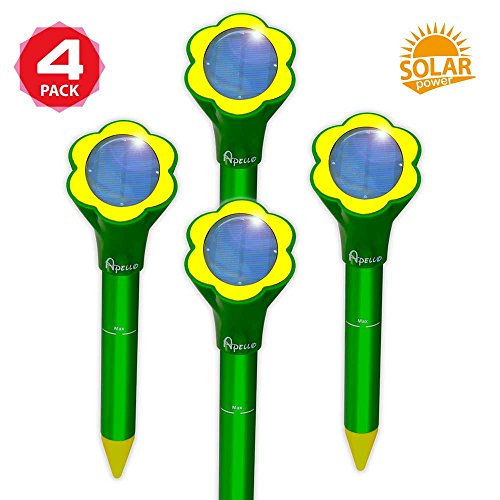 Apello 4 Pack Solar Mole Repeller Mole Repellent Humane Pest Repeller Control Chipmunk Gopher Vole Rodent Repellent Ultrasonic Can Be Used With Mole Granulars No Killing Like Mole Traps Killer (Aluminum Tube Stakes)