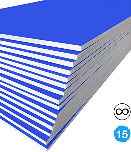 Excelsis Design, Pack of 15, Foam Boards, 20x30 Inches, Blue Color (More Colors Available) 3/16 Inch Thick Mat, (Acid-Free Foam Core Backing Boards, Double-Sided Sheets)