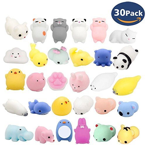 Fstop Labs 30PCS Mochi Squishy Animal Stress Toys, Mini Animal Squishy Stress Relief Animal Toys Mochi Squeeze Toys Mini Seal Bear Cat Tiger Pig Smile Cloud Squishies Random (Labs Cats Claw)