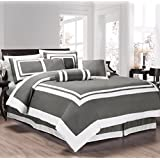 chezmoi collection 7 pieces caprice graywhite square pattern hotel bedding comforter set california king graywhite
