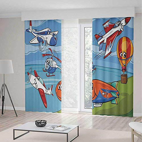 iPrint Kids Decor Curtains,Airplane Cartoons Toy Planes Jets Helicopter Hot Air Balloon Aircraft Ship Party Decorations,Living Room Bedroom Curtain 2 Panels Set,197 W 84 L,