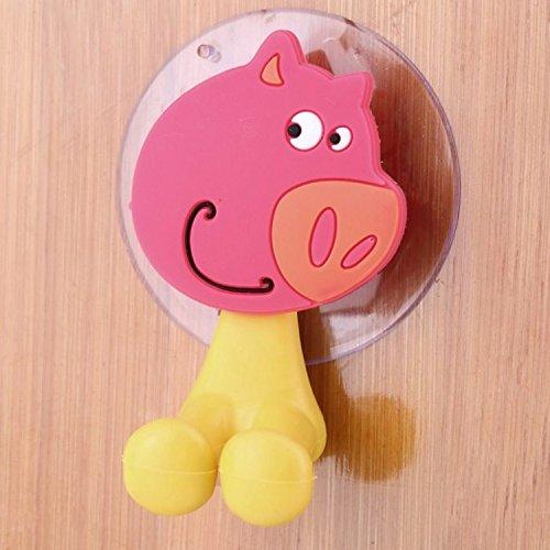 Popular New Cute Cartoon Sucker Toothbrush Holder Suction Hooks Bathroom Set Accessories Eco-Friendly (Pig) (Bunny Sucker Covers)