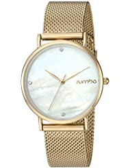 RumbaTime Womens Lafayette Gold Plated Stainless Steel Mesh Bracelet Casual Watch (Model: 27723)