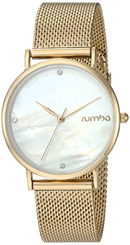 RumbaTime Women's 'Lafayette' Gold Plated Stainless Steel Mesh Bracelet Casual Watch (Model: 27723)