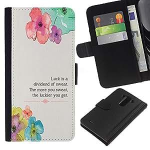 KLONGSHOP // Tirón de la caja Cartera de cuero con ranuras para tarjetas - Floral flor primavera Poema Mensaje - LG G3 //