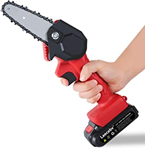 Laecabv Mini Chainsaw 4-Inch Cordless Electric Protable Chainsaw with Brushless Motor, One-Hand 0.7kg Lightweight, Pruning Shears Chainsaw for Tree Branch Wood Cutting (4inch, Black)