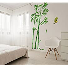 Revesun Removable Green Bamboo Forest Depths Wall Sticker Creative Chinese Style DIY Tree Home Decor Decals for Living Room Decoration Art Home Decor