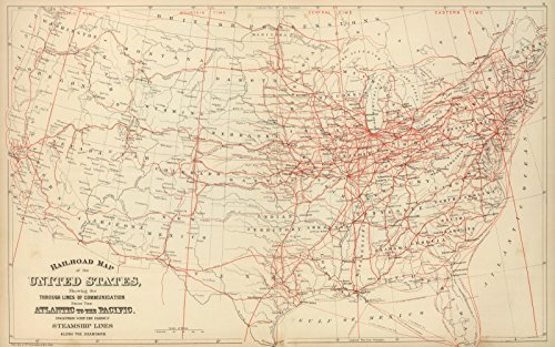 Historic Map | World Atlas | 1884 Railroad map U.S. | Historical Antique Vintage Decor Poster Wall Art | 24in x ()