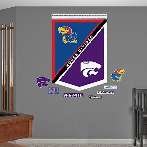NCAA Kansas State Wildcats KU House Divided Banner Fathead Real Big Decals, 34